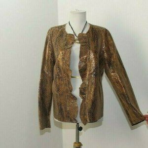 Chico's 3 Light Weight Animal Print Leather Jacket